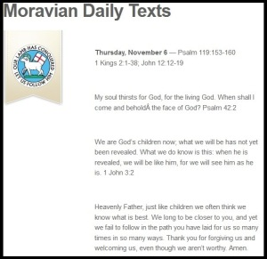 moravian daily text
