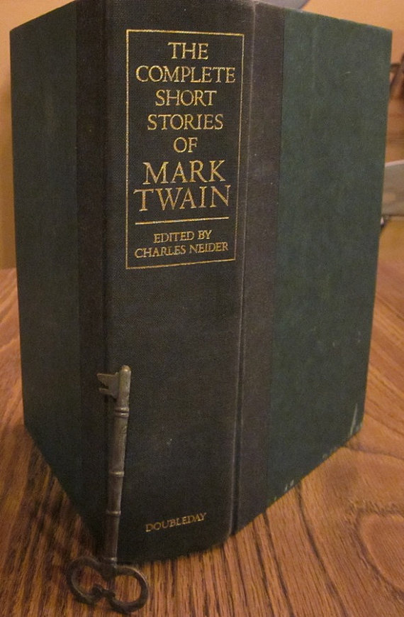 The outside of a Mark Twain locking book-safe.