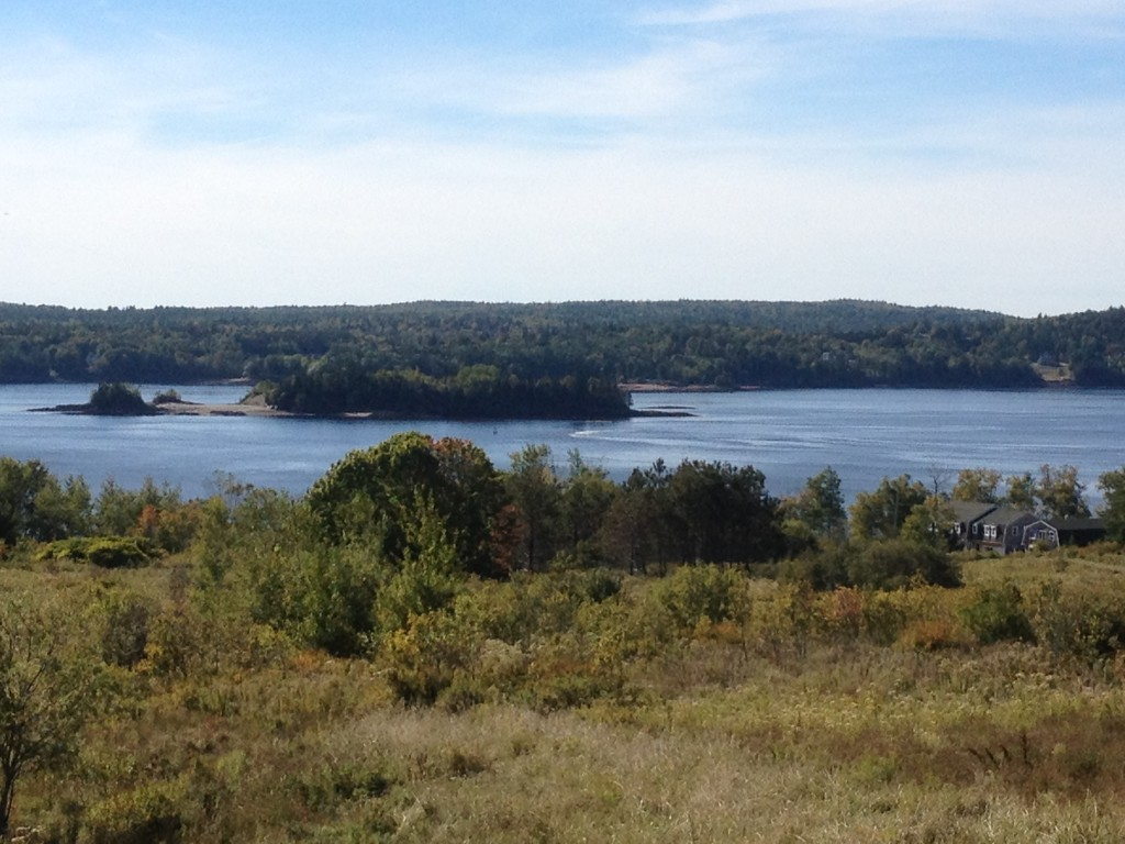 Saint Croix Island - location of the frirst French colony established by Pierre Dugua, Sieur de Mons in June 1604. Maine, USA, is in the far distance.