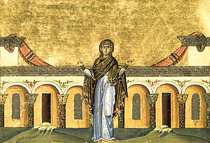 Painting depicting Syncletica of Alexandria, from the Menologion of Basil II (c. 1000 AD)